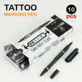 Newest 10pcs Dual-Tip Black Tattoo Skin Marker Piercing Marking Pen Tattoo Supply For Permanent Makeup TA-106