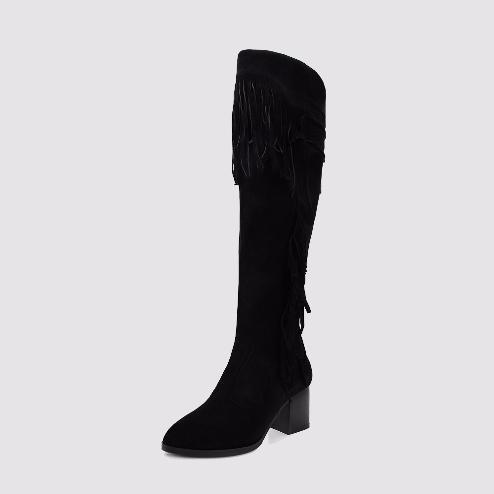 2016 Winter Woman Tassel Over The Knee Boots Suede Genuine Leather Knee High Boots Block Heels Side zip Woman Shoes