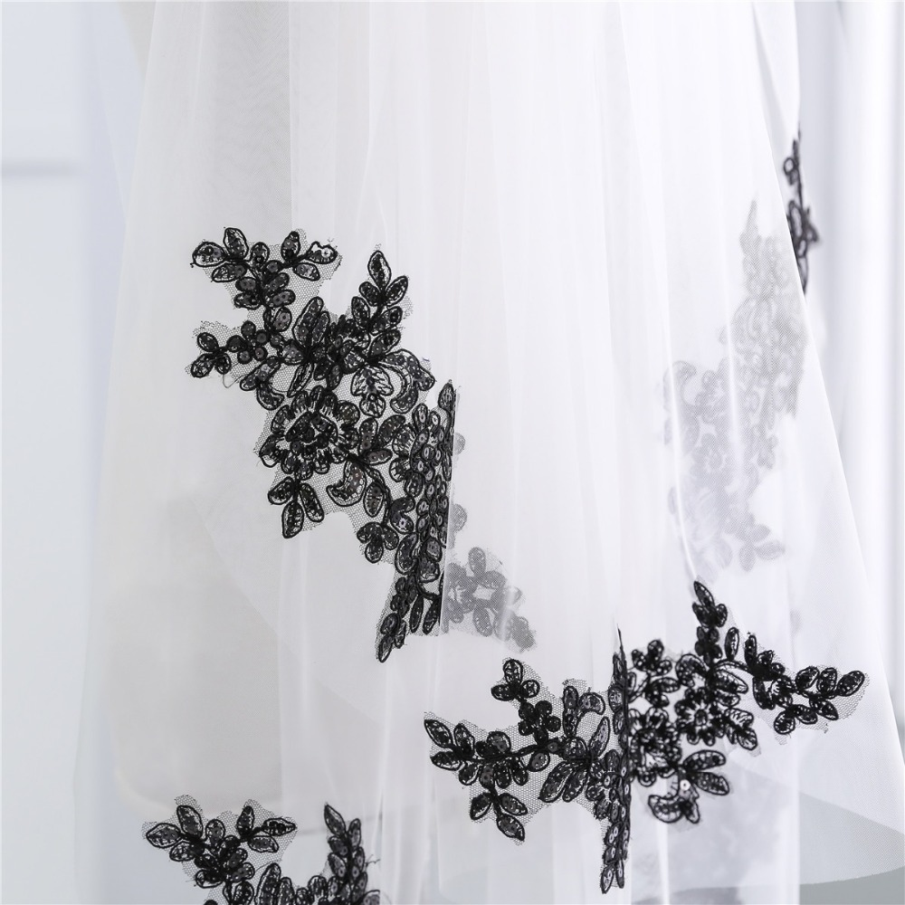 JaneVini 2018 White Ivory Wedding Veil Two Layer With Black Lace Appliques Sequins Bridal Short Veil For Bride Soft Tulle Veils in Bridal Veils from Weddings Events