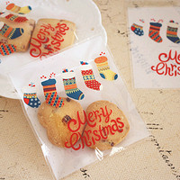 Christmas Socks Biscuits Package Bagging Self Sealing Cookies Package Candy Package Baggings Party Supplies 200pcs Lot