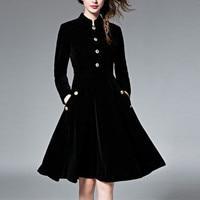 DoreenBow 1PC Women Dress Autumn Winter Velvet Maxi Dresses Elegant Long Sleeve With Button Vintage Party
