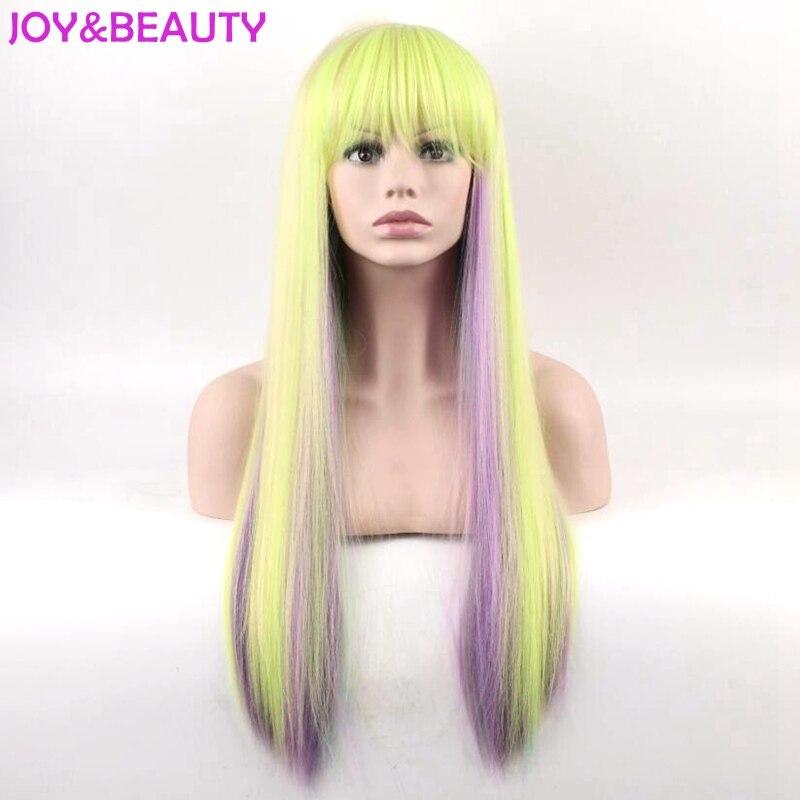 Glädje och skönhet Lång Afro Kinky Rak Regnbågsfärg Paryk - Syntetiskt hår - Foto 1