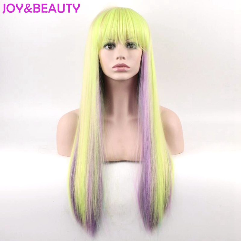 JOY&BEAUTY Long Afro Kinky Straight Rainbow color Wigs Heat Resistant Fiber Pelucas Cosplay Wig 26inch Long Free Shipping