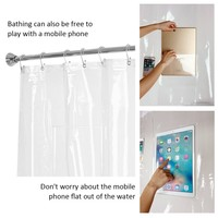 Transparent Shower Curtains with Pad Mounts Thicken Waterproof Shower Curtains EVA Durable Shower Curtains for Bathroom Supplies