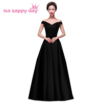plus size women's long black occasion evening gowns size 18 dresses for parties robe de soiree dress formal gowns 2019 H2644