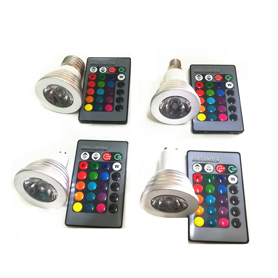 GU10 MR16 E27 E14 LED 16 Color Changing RGBW Magic Light Bulb Lamp 85-265V 110V 220V RGB Led Light Spotlight + IR Remote Control new e27 gu10 rgb led bulb light bombillas 4w 16 color change mr16 e14 led lamp spotlight lampada with remote controller dimmable