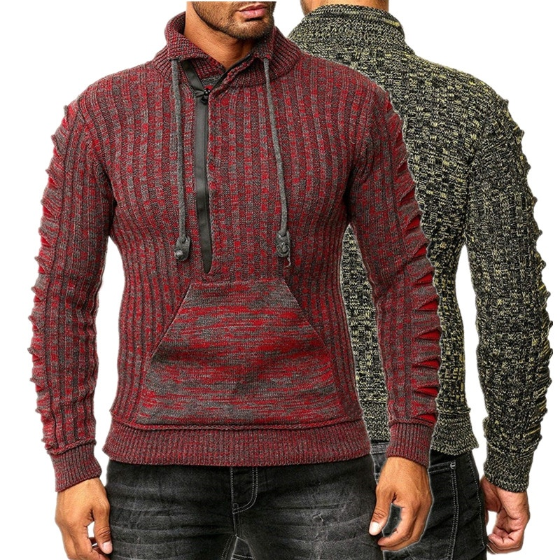 ZOGAA 2019 Mens Zip Wool Sweater Pullovers Long Sleeve Half-Zipper Sweater Jumper Knitwear Winter Cashmere Outerwears For Men