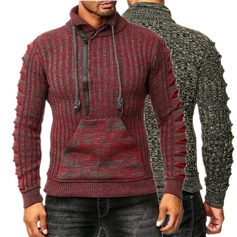 ZOGAA 2019 Mens Zip Wool Sweater Pullovers Long Sleeve Half-Zipper Sweater Jumper Knitwear Winter Cashmere Outerwears For Men