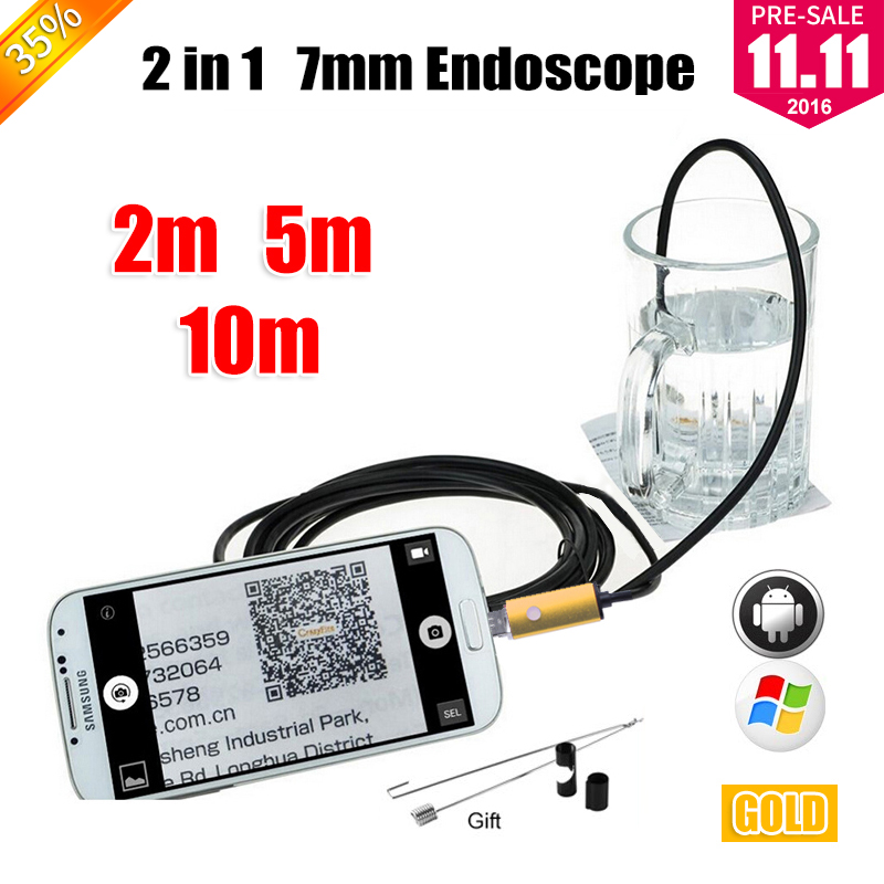 Golden 7MM OTG USB Android Camera Snake Endoscopio PC Android Phone Camera 2m 5m 10m Car Inspection USB Endoscope Camera headset bullet usb otg compatible android smartphones digital camera