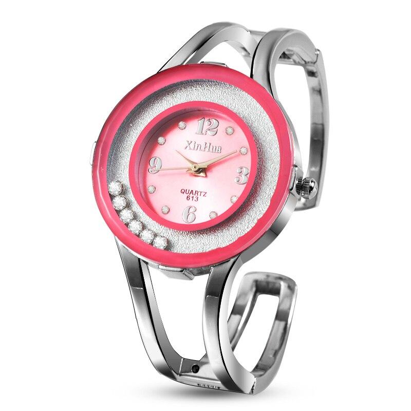 2019 XINHUA Fashion Watches Women Stainless Steel Bracelet Bangle Rhinestone Luxury Party Dress Female Clock Relogios Feminino