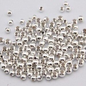 Miçangas para fazer esferas diy, espaçadores redondos banhados a ouro e prata, dourados, para fazer bola, 500 pçs/lote 2mm 2.5mm 3mm pulseira para colar,