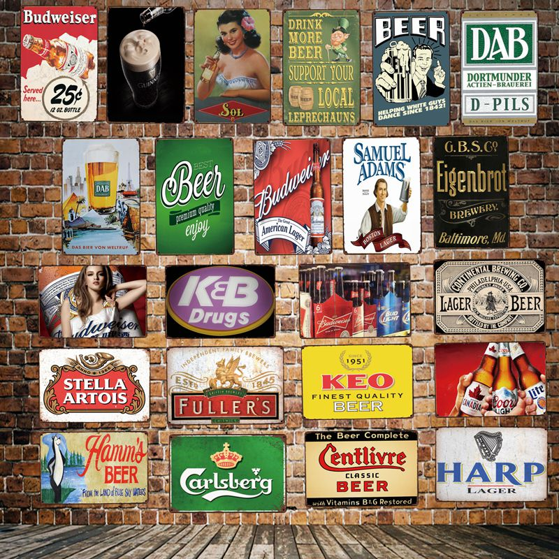 [ DecorMan ] Enjoy Beer bar Tin Signs Custom wholesale Mural Metal Paintings PUB Decor HY-1729