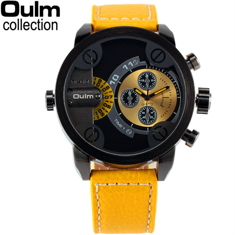 цены 5cm Oversized Dial for Big Wrist Design Brand OULM 3130 Mens Leather Watches Montre homme Marque Male relogio masculino original