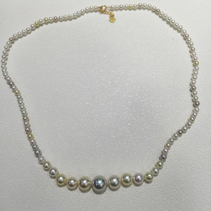 3.5-9.5MM Natural sea water pearl necklace Akoya Pearl fine jewelry with 18K gold clasp perfect round Genuine jewelry