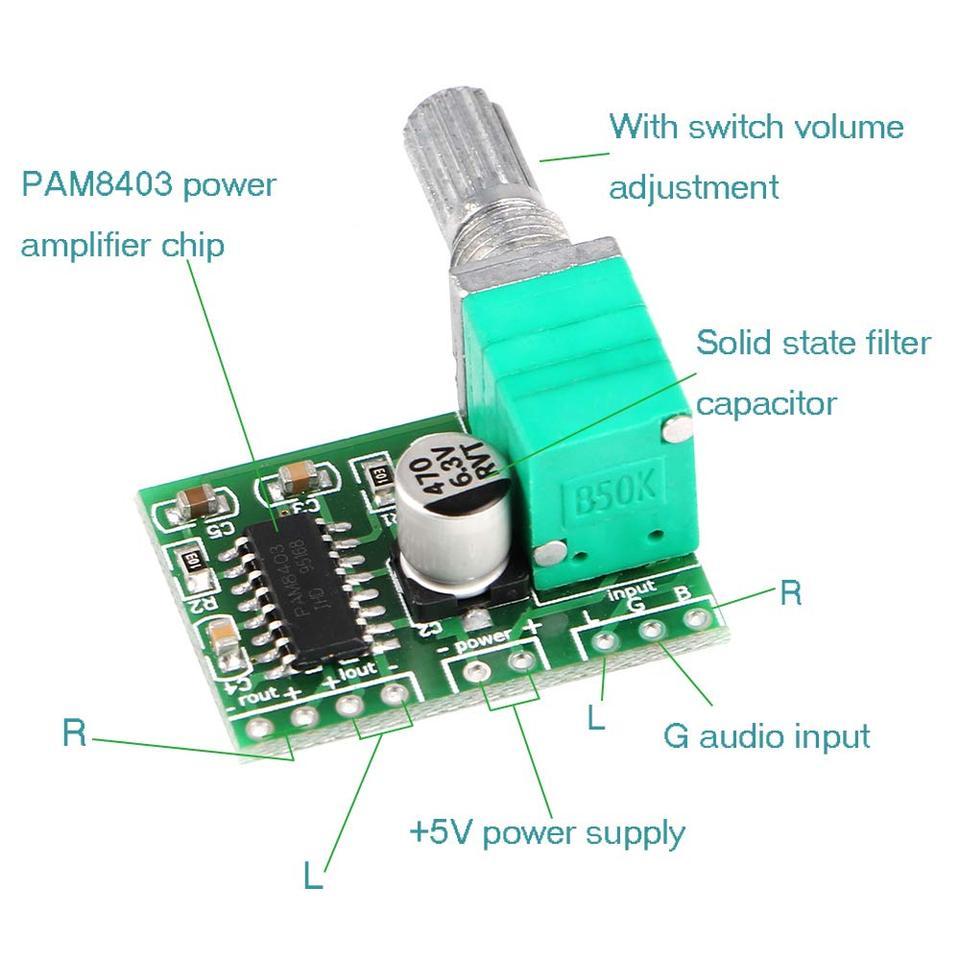 Lautstärkeregler 2 Kanal 2X 3W Usb-Audio-Verstärkerplatine PAM8403 5V Dc Neu nz