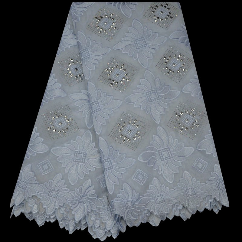 2019 Swiss Voile Lace Fabric In Switzerland Embroidered African Cotton Lace Fabric High Quality Nigerian Lace