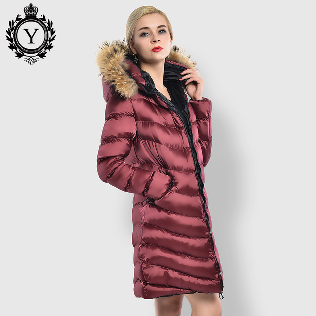 df8a05793 US $53.99 40% OFF|COUTUDI 2018 Classic Women's Long Coat Solid Wine Red  Winter Clothing Thick Warm Female Winter Parka Coat Original Fur Hood  Coat-in ...