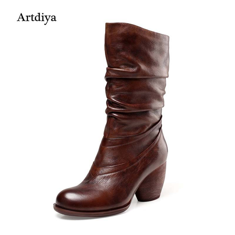 Artdiya 2018 New Winter Boots Genuine Leather Women Boots Retro Thick Heels High Heels Manual High Boots 1087-21 цены онлайн