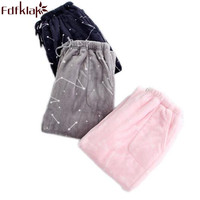 Fdfklak Women S Sleep Home Pants Winter Flannel Couple Pyjamas Bottom Pajama Style Pants Thicker Print