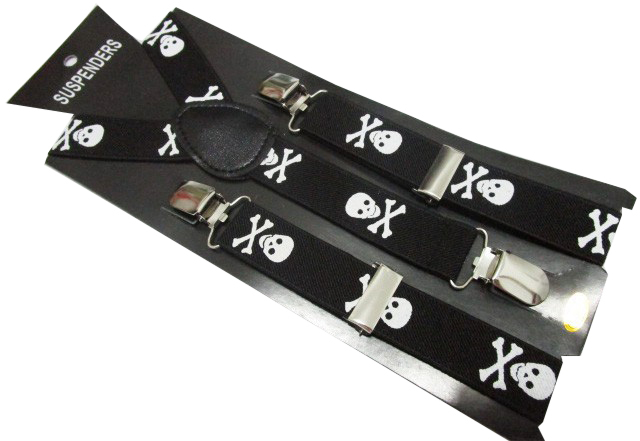 Free Shipping 2019 New Fashion Children /Kids Adjustable Clip-on Y-back White Skull Black Suspenders Braces