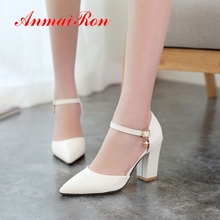 AnmaiRon Basic Super High  Patent Leather Pointed Toe Women Fashion Classic Pumps Casual Buckle Strap Shoes Size 34-42 LY1674