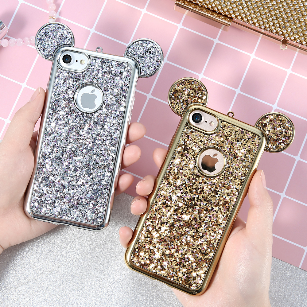 KISSCASE Bling Paillette Case For IPhone 5s 5 SE IPhone X 6 6S 7 Plus Lovely Mickey Ear Plating Frame Soft Silicone Back Cover