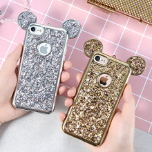 KISSCASE ブリンブリン Paillette ケース iphone 5 s 5 SE iPhone × 6 6 s 7 プラス素敵なミッキー耳メッキフレームソフトシリコンバックカバーケース(China)