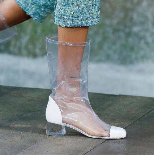 as Rainboots Sans Femme De gris Chaude Transparent Follwwith Épais Sac As Bottes Femmes Bas Conception Pvc Lacets Pic Mode Talons Marque Chaussures 2019 Pic aYU1wqXU