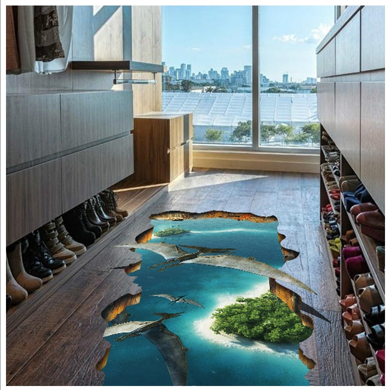 Toilet impermeable y resbaladizo palo de tierra para baño autoadhesivo pegatina de pared decoración animal 3D suelo pegado azulejos de suelo