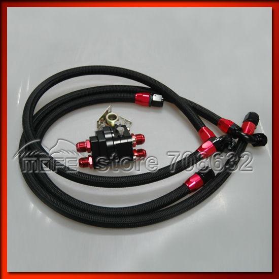 AN10 Ölkühler Verlegung Mit Geflochtenen Nylon Edelstahl Ölleitungen Schwarz - 2