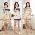 Ropa deportiva femenina de manga corta de algodón de verano pijama de algodón pijamas lindo conejo casa de verano