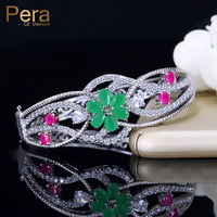 Pera Brand Top Quality Hollow Flower Red And Green CZ Crystal Stone Vintage Women Prom Party