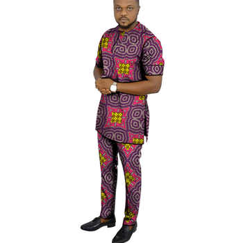 African clothing men\'s print set short sleeve shirt with trouser Ankara fashion pant sets customize wedding male formal outfits - DISCOUNT ITEM  15 OFF Men\'s Clothing