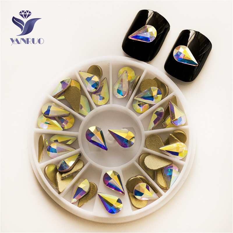 YANRUO 2165 NoHF Goutte AB 3.6*6mm 5*8mm 6*10mm Non Correctif Flatback cristaux Strass Nail Art Colle Sur Strass