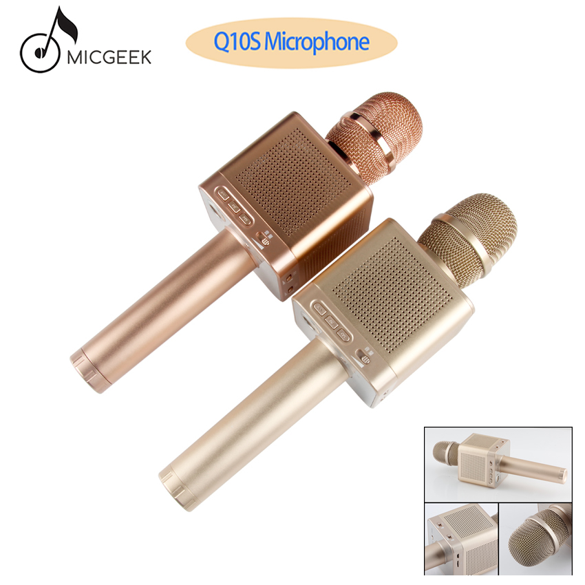 Original MicGeek Q10S Wireless Karaoke Microphone 2 1 Track Dimensional Sound Voice Change 4 Speakers for