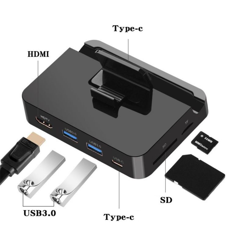 USB ajustable tipo C teléfono HUB estación de acoplamiento HDMI USB3.0 SD/TF lector de tarjetas adaptador de alimentación para SamSung xiaomi