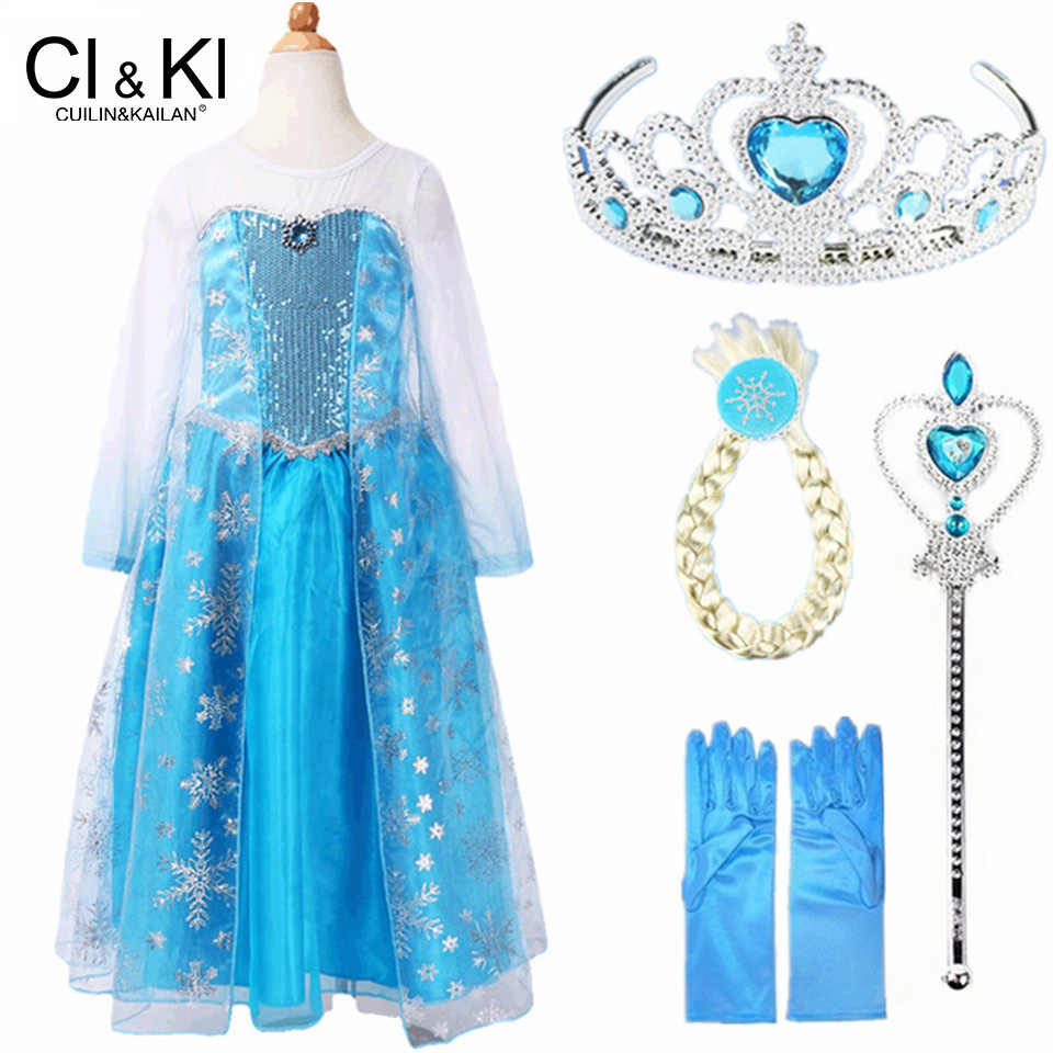 Cuilinkailan Customs Fashion Girls Children Clothes Anna Elsa Dress Girl Baby Elza Dresses For Kids Princess Vestidos Infantis