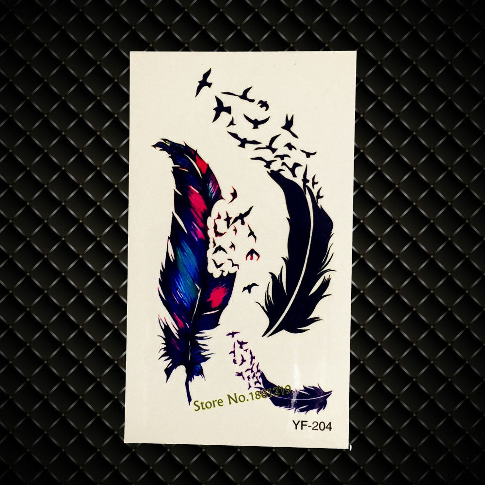 New Summer Style Men Women Arm Fake Tattoo Black Feather Flying Bird Design Waterproof Leg Decal Temporary Tattoo Sticker GYF204