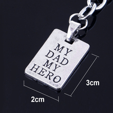 Fashion Style Key Chain Zinc Alloy Plated MY DAD MY HERO Keychain Love Family Jewelry Fathers Day Gift