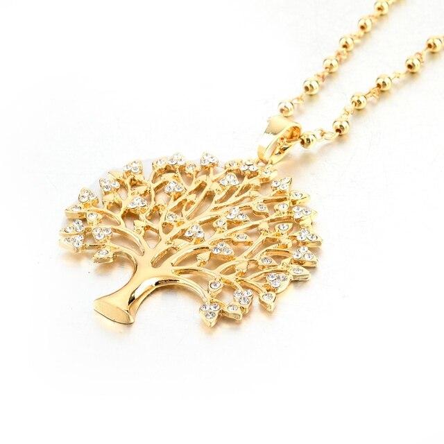 Купить chicvie длинные ожерелья золотого цвета с деревом жизни подвески картинки