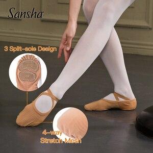Image 5 - Zapatos de Ballet para adultos Sansha malla elástica de 4 vías 3 zapatillas de Ballet de diseño de suela dividida para niñas y hombres zapatillas de Ballet rosa /zapatos de baile negros NO.357M