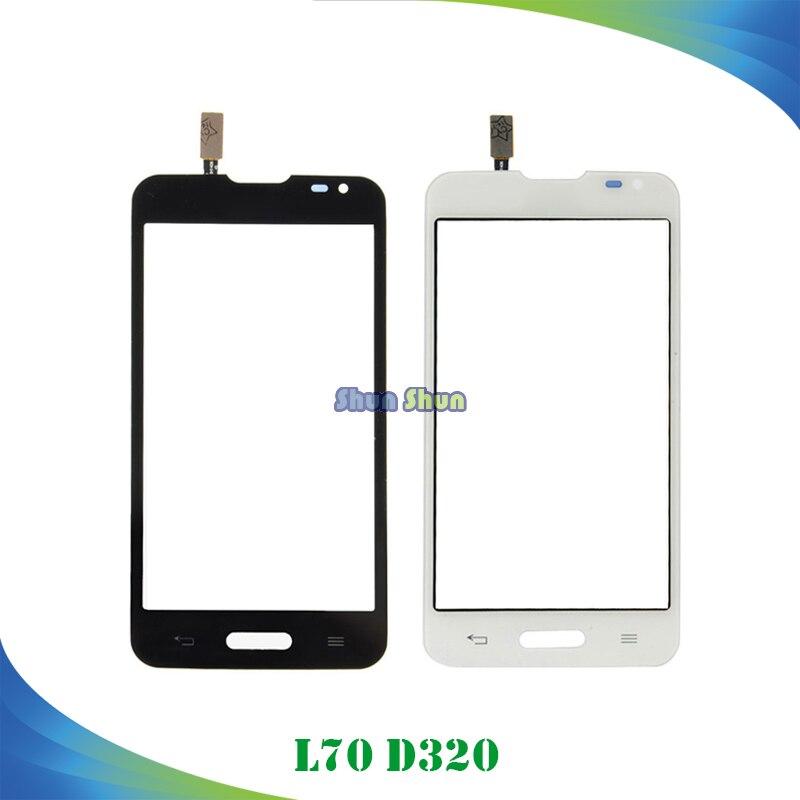 4.5 ''D320 Tactile Panneau pour LG L70 D320 Écran Tactile Digitizer Capteur Avant Lentille En Verre Noir Blanc Mobile Téléphone pièces