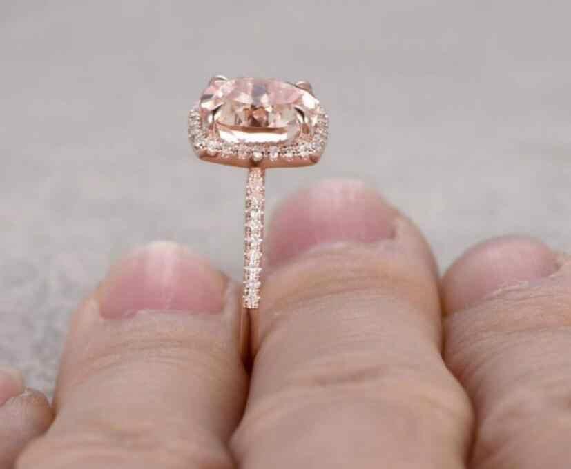 Размер 6-10, Прямая поставка, хит продаж, роскошное ювелирное изделие, 925 пробы, серебряное и розовое золото, заполненное в форме подушки, AAA CZ, обручальное кольцо