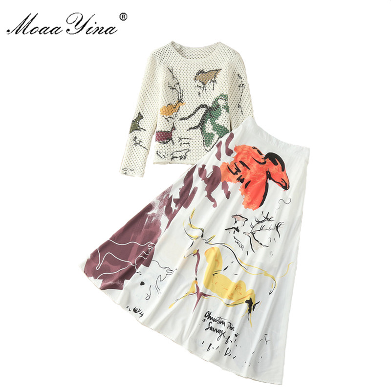 MoaaYina High Quality Fashion Designer Set Summer Women Hollow out Long sleeve Women Sweater Pull FemmeTops+Graffiti Skirt Set