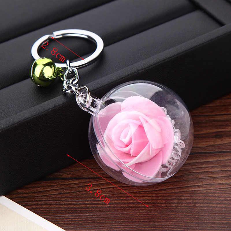 Re moda rosa flor de cristal chaveiro trinket metal sino chaveiro do carro presente da menina feminino saco charme chaveiro chaves pingente a0240