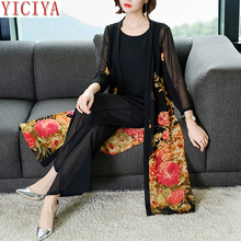 YICIYA 2 Two 3 Piece Set Women Pant and Top Cardigan Plus Size Outfit Co-ord 2019 Summer Print Floral Black Elegant Clothing