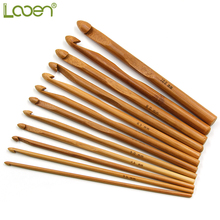 12 Pcs Mix Size Carbonized Bamboo Crochet Needles Handle Hook Knit Weave Yarn Crafts Women Home DIY Craft Tools