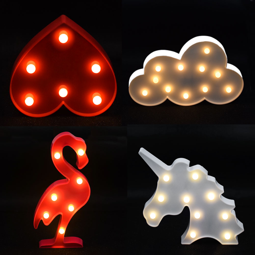 Romantic 3D Flamingo LED Night Light Cartoon Unicorn Head Pineapple Xmas Weddind Decor For Baby Kids Bedroom Decor