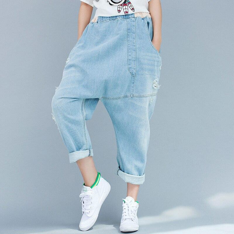 Women Denim Cross Pants 2016 Jeans Casual crotch pants Loose personalized irregular Bleached Trousers Jeans скороварка winner 6 л wr 1800