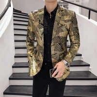 Luksusowy złoty nadruk w paski Blazer Masculino Slim Fit mężczyźni Blazer Hombre Plus rozmiar 5xl etap tkaniny dla piosenkarz dj Chaqueta Hombre